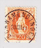 Heimat ZH SCHWAMMENDINGEN 28.12.1897 2-Kreis Stempel Auf 20Rp Stehende Helvetia - 1882-1906 Armoiries, Helvetia Debout & UPU