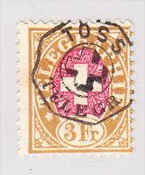 Heimat ZH TÖSS TELEGR. Vollstempel Auf 1881 Telegrafen Marke 3Fr. #18 - Télégraphe
