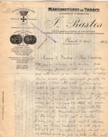 VP3571 - Tabac - Lettre Des Manufactures De Tabacs P. BASTOS à ORAN Pour  Mr Th. SCHOESING à PARIS - Documents