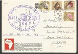 SPE31--- ,STORIA POSTALE-  MALINDA, KENYA---CASERTA, ITALIA,  SATELLITE,  NASA,  SCOUT, SAN MARCO RENGE, KENYA, - Space