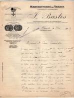 VP3572 - Tabac - Lettre Des Manufactures De Tabacs P. BASTOS à ORAN Pour  Mr Th. SCHOESING à PARIS - Dokumente
