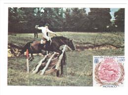 CPSM CHEVAL DE COURSE XX EME OLYMPIADES DE MUNICH 1972 PARCOURS DE CROSS  1 ER JOUR MAXIMUM TIMBRE 1972 MONACO - Chevaux