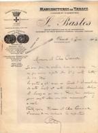 VP3573 - Tabac - Lettre Des Manufactures De Tabacs P. BASTOS à ORAN Pour  Mr Th. SCHOESING à PARIS - Documenten