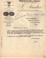 VP3574 - Tabac - Lettre Des Manufactures De Tabacs P. BASTOS à ORAN Pour  Mr Th. SCHOESING à PARIS - Documents