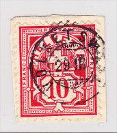 Heimat ZH VOLKETSWEIL 29.3. Zwergstempel Auf 10Rp WZ Papierstück - 1882-1906 Wappen, Stehende Helvetia & UPU