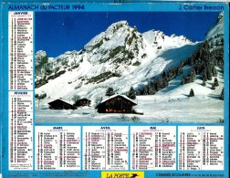 ALMANACH DES P.T.T 1994 (57)   -  Complet ** LA CLUZAZ - LES PRAZ EN ETE ** Calendrier *J. CARTIER BRESSON - Calendarios