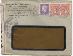 France Marianne Dulac + Arc De Triomphe S/L.à En-tête Mines De L'Escarpelle C.Flers-en-Escrebieux 1945 Censure PR2908 - 1944-45 Marianne De Dulac