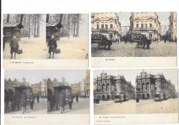 8905 - Lot De 4 Cartes Stéréoscopiques De BELGIQUE - Belgique