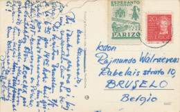 300/24 - ESPERANTO - Vignette Congrès De PARIS 1949 S/ Carte- Vue STOCKHOLM Suède - Esperanto