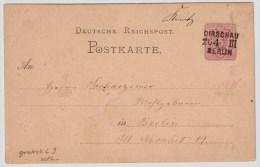 "Bahnpost, 1875, "" DIRSCHAU - BERLIN "" , L3 Grotesk , #5558 - Briefe U. Dokumente"