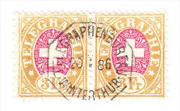 Heimat ZH WINTERTHUR TELEGRAPHENBUREAU 20.1.1886 Auf Waagr. Paar 3Fr. Telegraphen Marken #18 - Télégraphe