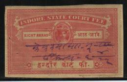 HOLKAR / INDORE State  8A  Court Fee  Type 8  K&M 84 # 87512  Inde Indien Fiscaux Fiscal Revenue - Holkar