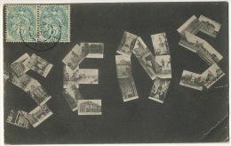 Deltiology Collection Carte Postale  Sens Yonne Mot Formé Avec Cartes Postales Anciennes Envoi 6, Rue De Berne Paris - Cartes Postales