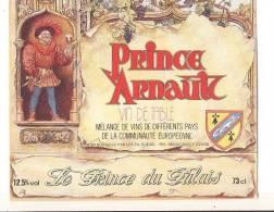 Etiquette De  Vin De Table   -    Prince Arnault  -  Ets Guevel  à  22000 - Emperors, Kings, Queens And Princes