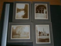 LOURDES - 4 Photos Début 20e Siècle - Basilique, Portique Petit Bâtiment Et Rivière Gave De Pau - Documents Historiques