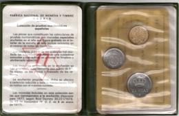 Pruebas Numismáticas : Fabrica Nacional De Moneda Y Timbre Madrid : Mint Set De 3 Pièces 1977 Avec La Pochette - España