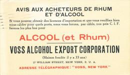 302/24 - ALCOOL Et RHUM  USA - Entier 2 Cents Repiqué NEW YORK 1919 - VOSS Alcohol Export Co. - Vins & Alcools
