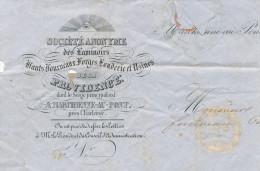 303/24 - FRANC MACONNERIE Belgique - Symbole Maçonnique S/ Cachet Et Entete De Lettre 1855 Laminoirs De La Providence - Freemasonry