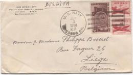 USA Ponape Caroline Island U.S.Navy 1/6/1950 Air Mail Cover To Belgium (PR2824) - Etats-Unis