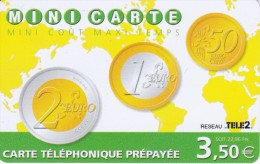 TARJETA DE FRANCIA CON UNAS MONEDAS DE EURO (COIN-MONEDA) TELE2 - Sellos & Monedas