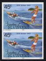 S. Vincent Gren. 1985, Tourism Sport, Water Skiing, 1val IMPERFORATED In Pair
