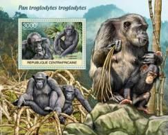 CENTRAL AFRICA 2011 - WWF. Chimpanzees - YT BF462, Mi Bl.952 - Apen