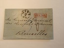 Austria Österreich Unfrankierter Luxus Brief WIEN 1855 + U.P.A.3 E R. > Bruxelles, BELGIQUE Taxé 6 Decimes (cover Lettre - Briefe U. Dokumente