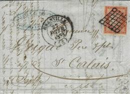 1850- Lettre De GRANVILLE ( Manche ) Cad T14 Affr. N° 5 40 C ( 3 Belles Marge, Au Filet à Droite ) Oblit. Grille - Marcophilie (Lettres)