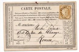 """1876 - CARTE PRECURSEUR Avec CACHET CONVOYEUR """"LE HAVRE A PARIS"""" Pour ROUEN - Marcophilie (Lettres)"""