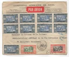 Enveloppe à En-tête Compagnie Africaine De Sisal, 9 Timbres à 1 F, Un 0,5 Et Un 0,25, étiquette Par Avion - Sénégal (1887-1944)