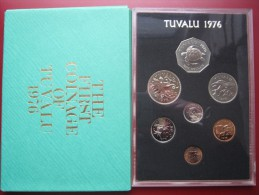 Tuvalu 1976 Coin Set Proof Royal Mint 1 Cent - 1 Dollar Cased In Green Envelope - Tuvalu