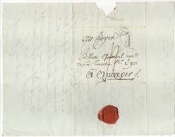 Lettre De Paris, Pour Quimper, (Bretagne), Port 12, Adressée à Monsieur Billette-Querouel, Cachet P, Triangle, 1799 - Marcophilie (Lettres)