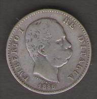 ITALIA 1 LIRA 1886 UMBERTO I AG SILVER - 1861-1946 : Regno