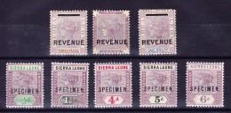 Sierra Leone Lot 7 Marken 3d 6d Und 1Sh überdruckt Revenue Und SG 41 43 47 48 49 überdruckt Specimen - Sierra Leone (...-1960)