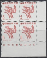 South Korea KPC267 Wildlife, Squirrel, Imprint Block - Korea, South