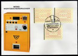 ÖSTERREICH 1983 - Münz Wertzeichendrucker 1.Verwendungstag Von Automaten Wertzeichen - Sonderstempel FDC - Post