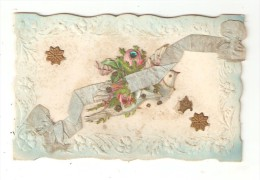 Carte Fantaisie Gaufrée Avec Ajoutis : Colombe Fleurs Rubans Paillettes - A Systèmes