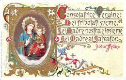 [DC2636] CPA - TORINO - SANTUARIO DELLA CONSOLATA - SILVIO PELLICO - INSERTI DORATI - Viaggiata 1927 - Old Postcard - Churches