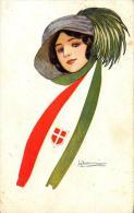 [DC2641] CPA - ITALIA - DONNA CON CAPPELLO FORSE BERSAGLIERE - FIRMATA - Viaggiata - Old Postcard - Militari