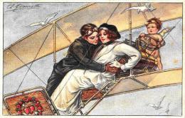 [DC2646] CPA - ANGELO E COPPIA IN AEREOPLANO - ILLUSTRATORE GIAMETTI - Non Viaggiata - Old Postcard - Engelen