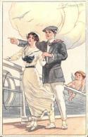 [DC2648] CPA - ANGELO E COPPIA SUL PONTE DI UNA NAVE - ILLUSTRATORE GIAMETTI - Non Viaggiata - Old Postcard - Angeli