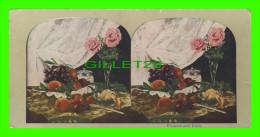 CARTES  STÉRÉOSCOPIQUES - FLOWERS AND FRUIT - - Cartes Stéréoscopiques