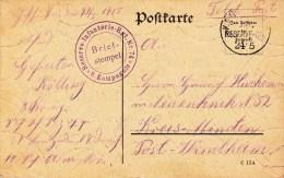 Reserve - Infanterie - Rgt Nr 74 * 8. Kompagnie * + TàD K.D. Feldpostexped 19. . RESERVE DIV DU 24.5. Sur Feldpostkarte - Guerre De 1914-18