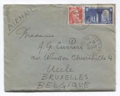 France Lettre Avion TP Marianne De Gandon + TP Abbaye St.Wandrille C.Paris En 1949 V.Uccle BXL Belgique PR2928 - 1945-54 Marianne De Gandon