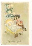 Joyeux Noël. Petit Garçon Qui Prie Devant Le Berceau De L'Enfant Jésus. Sapin Décoré. Coloprint Spécial 1627/1 - Unclassified