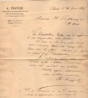 VP3580 - Tabac - Lettre De Mr  A. FRAYSSE Agent Spécial Des Manufactures De L´Etat Pour Mr SCHOESING à PARIS - Documenten