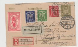 WGA354 / Philatelistentag Hamburg 24, 1925 Mit Sonder-R-Zettel Per Luftpost Nach Leipzig Und Zurück Nach Wandsbeck. - Deutschland