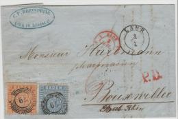 Bad276 / Lahr 1862 Nach Frankreich Mit Mi.Nr. 10 Und 11, Gut Gezähnt. - Baden
