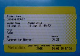 TRAIN TRENO TICKET MANCHESTER AIRPORT METROLINK  USATO - Metro