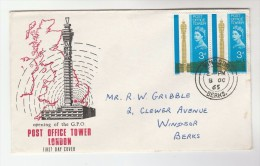 1965 Windsor  GB FDC Franked  2x 3d POST OFFICE TOWER  Stamps Cover - FDC